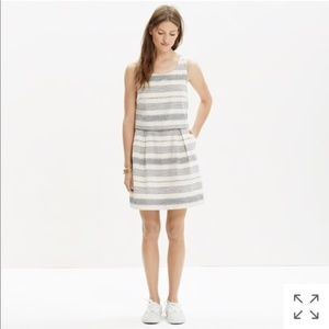 Madewell Striped Open-Back Overlay Dress, Size 4
